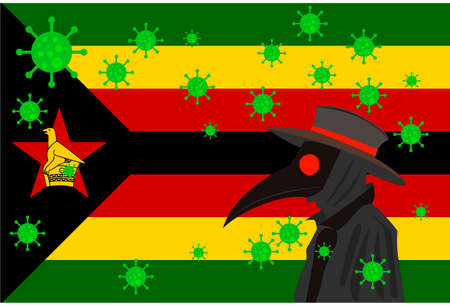 Black plague doctor surrounded by viruses with copy space with ZIMBABWE flag.