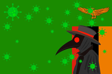 Black plague doctor surrounded by viruses with copy space with ZAMBIA flag. 向量圖像