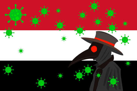 Black plague doctor surrounded by viruses with copy space with YEMEN flag.