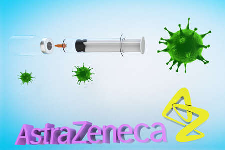 Astrazeneca vaccine with a syringe and a container bottle in the treatment of coronavirus disease 2019 COVID-19 covid19 covid 3D RENDER.