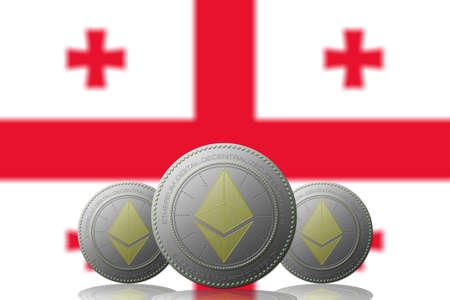 3D ILLUSTRATION Three ETHEREUM cryptocurrency with Georgia flag on background. 版權商用圖片