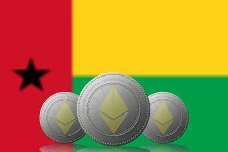 3D ILLUSTRATION Three ETHEREUM cryptocurrency with Guinea Bissau flag on background.