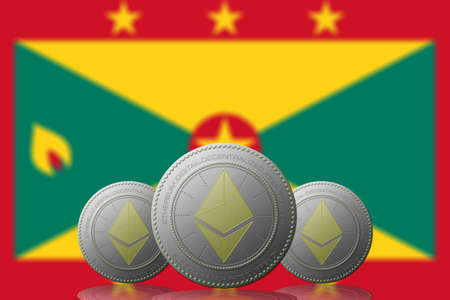 3D ILLUSTRATION Three ETHEREUM cryptocurrency with GRENADA flag on background.