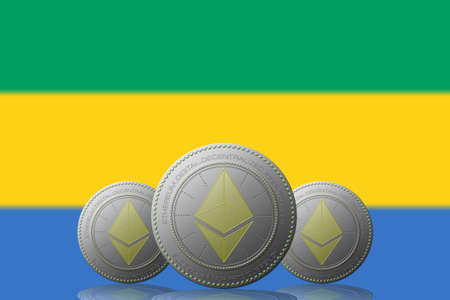 3D ILLUSTRATION Three ETHEREUM cryptocurrency with Gabon flag on background.