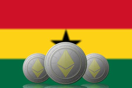 3D ILLUSTRATION Three ETHEREUM cryptocurrency with Ghana flag on background. 版權商用圖片