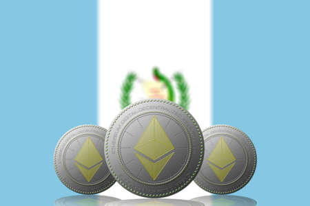 3D ILLUSTRATION Three ETHEREUM cryptocurrency with Guatemala flag on background.