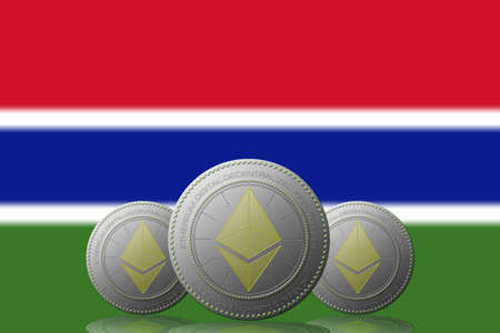 3D ILLUSTRATION Three ETHEREUM cryptocurrency with Gambia flag on background. 版權商用圖片
