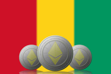 3D ILLUSTRATION Three ETHEREUM cryptocurrency with Guinea flag on background. 版權商用圖片