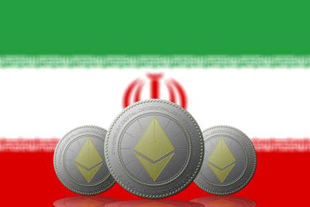 3D ILLUSTRATION Three ETHEREUM cryptocurrency with Iran flag on background. 版權商用圖片