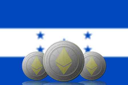 3D ILLUSTRATION Three ETHEREUM cryptocurrency with Honduras flag on background.