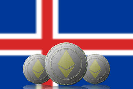 3D ILLUSTRATION Three ETHEREUM cryptocurrency with Iceland flag on background.