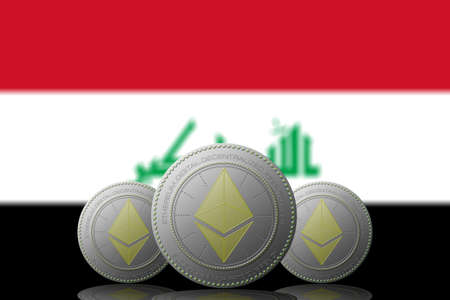 3D ILLUSTRATION Three ETHEREUM cryptocurrency with Irak flag on background.