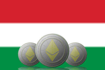 3D ILLUSTRATION Three ETHEREUM cryptocurrency with Hungary flag on background.