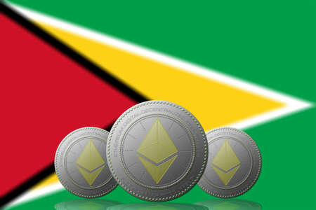 3D ILLUSTRATION Three ETHEREUM cryptocurrency with Guyana flag on background.