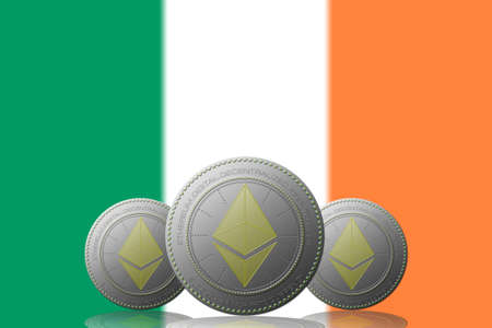 3D ILLUSTRATION Three ETHEREUM cryptocurrency with Ireland flag on background.