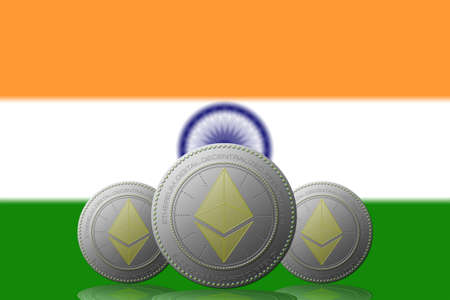 3D ILLUSTRATION Three ETHEREUM cryptocurrency with India flag on background.