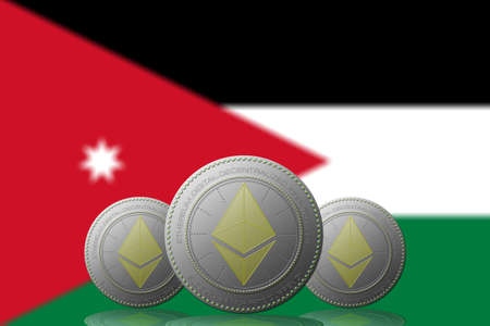 3D ILLUSTRATION Three ETHEREUM cryptocurrency with Jordan flag on background.