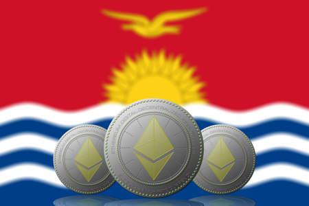 3D ILLUSTRATION Three ETHEREUM cryptocurrency with Kiribati flag on background. 版權商用圖片