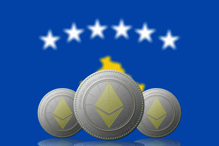 3D ILLUSTRATION Three ETHEREUM cryptocurrency with Kosovo flag on background.