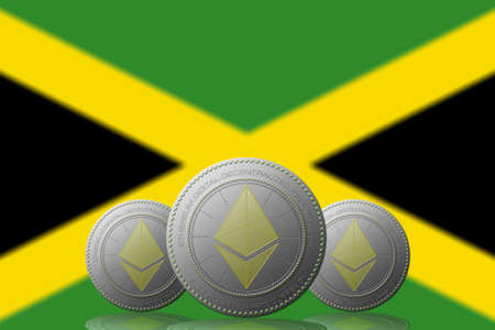 3D ILLUSTRATION Three ETHEREUM cryptocurrency with Jamaica flag on background.