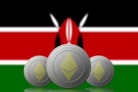 3D ILLUSTRATION Three ETHEREUM cryptocurrency with Kenya flag on background.