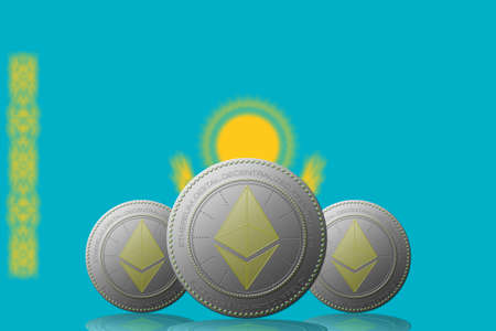 3D ILLUSTRATION Three ETHEREUM cryptocurrency with Kazakhstan flag on background.