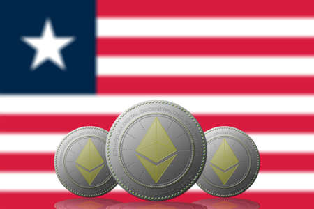 3D ILLUSTRATION Three ETHEREUM cryptocurrency with Liberia flag on background.