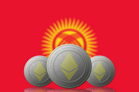 3D ILLUSTRATION Three ETHEREUM cryptocurrency with Kyrgyzstan flag on background.