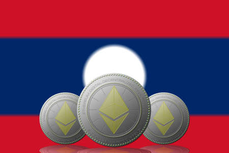 3D ILLUSTRATION Three ETHEREUM cryptocurrency with Laos flag on background.
