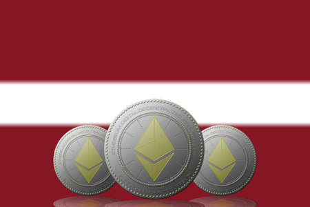 3D ILLUSTRATION Three ETHEREUM cryptocurrency with Latvia flag on background. 版權商用圖片