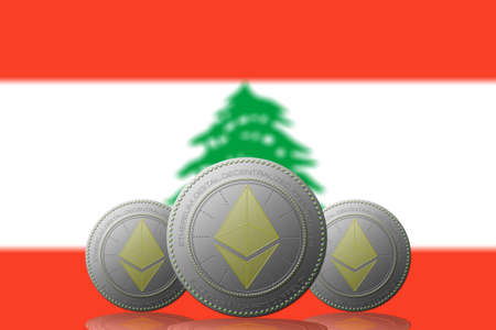 3D ILLUSTRATION Three ETHEREUM cryptocurrency with  Lebanon flag on background.