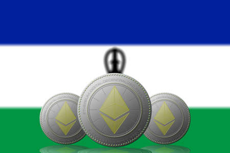 3D ILLUSTRATION Three ETHEREUM cryptocurrency with Lesotho flag on background.
