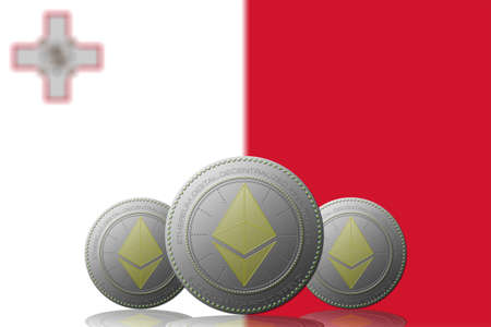 3D ILLUSTRATION Three ETHEREUM cryptocurrency with Malta flag on background.