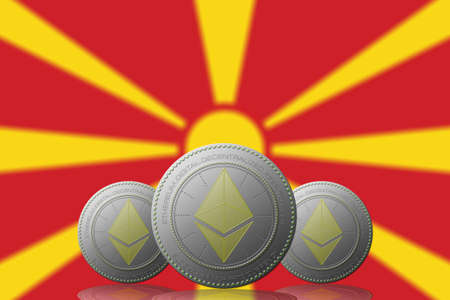 3D ILLUSTRATION Three ETHEREUM cryptocurrency with Macedonia flag on background.