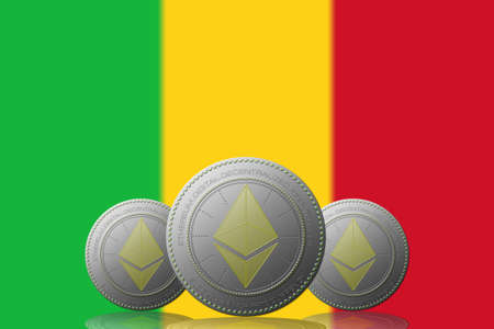 3D ILLUSTRATION Three ETHEREUM cryptocurrency with Mali flag on background. 版權商用圖片