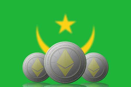 3D ILLUSTRATION Three ETHEREUM cryptocurrency with Mauritania flag on background. 版權商用圖片