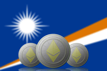 3D ILLUSTRATION Three ETHEREUM cryptocurrency with Marshall Islands flag on background.