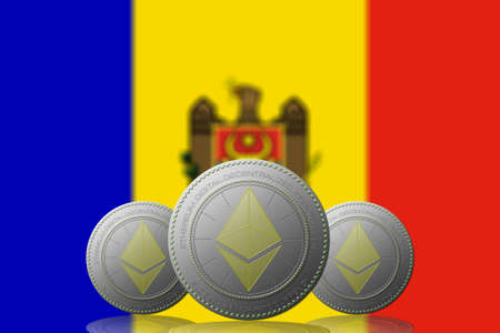 3D ILLUSTRATION Three ETHEREUM cryptocurrency with Moldova flag on background.