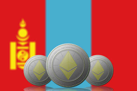 3D ILLUSTRATION Three ETHEREUM cryptocurrency with Mongolia flag on background.