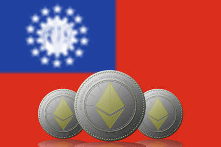 3D ILLUSTRATION Three ETHEREUM cryptocurrency with Myanmar flag on background.