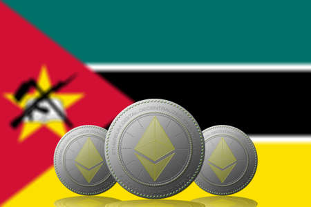 3D ILLUSTRATION Three ETHEREUM cryptocurrency with Mozambique flag on background.