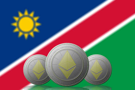 3D ILLUSTRATION Three ETHEREUM cryptocurrency with Namibia flag on background. 版權商用圖片
