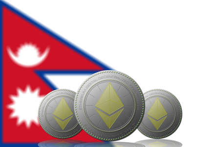 3D ILLUSTRATION Three ETHEREUM cryptocurrency with Nepal flag on background.