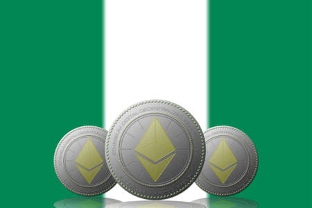 3D ILLUSTRATION Three ETHEREUM cryptocurrency with Nigeria flag on background.