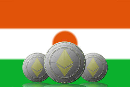 3D ILLUSTRATION Three ETHEREUM cryptocurrency with Niger flag on background. 版權商用圖片
