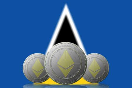 3D ILLUSTRATION Three ETHEREUM cryptocurrency with Saint Lucia flag on background. 版權商用圖片