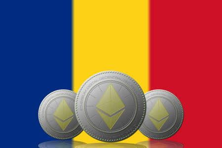 3D ILLUSTRATION Three ETHEREUM cryptocurrency with Romania flag on background. 版權商用圖片