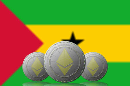 3D ILLUSTRATION Three ETHEREUM cryptocurrency with Sao Tome and Principe flag on background.
