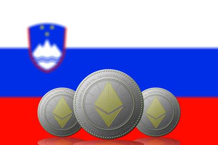 3D ILLUSTRATION Three ETHEREUM cryptocurrency with Slovenia flag on background. 版權商用圖片