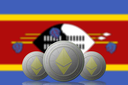 3D ILLUSTRATION Three ETHEREUM cryptocurrency with Swaziland flag on background. 版權商用圖片